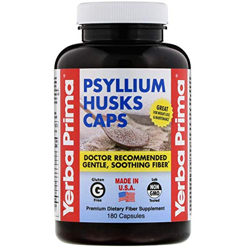 Yerba Prima Psyllium Husks Caps Dietary Fiber 625 mg, 180 Capsules