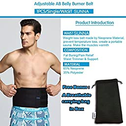 Waist Trimmer, Neoprene Waist Trainer - Belly Burner Weight Loss Wrap and Ab Slimming Belt - Sauna Sweat Band Helps Fat Burning for Men Women Adjustable Abdominal Muscle & Back Support by ASOONYNUM