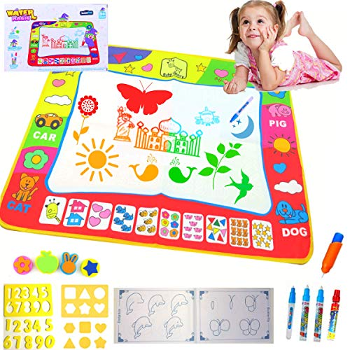 LearnFun Large Aqua Magic Colorful Water Drawing Mat 31.5 X 23.7 with 4 Pens and 20 Templates- Best Educational Gift Toy for Kids - Girls, Boys & Toddlers Travel Doodle Learning & Activity Pad