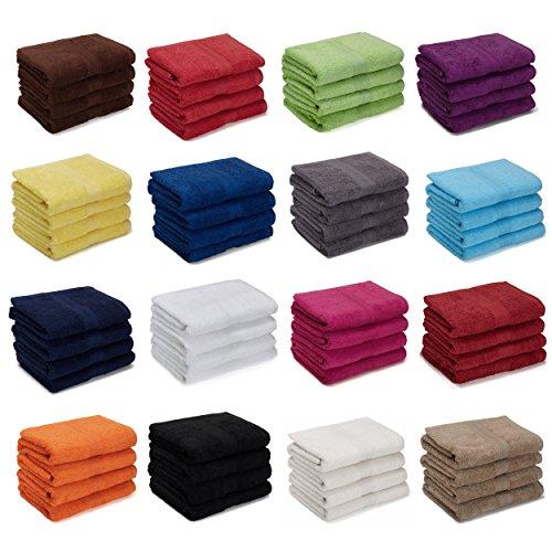 4er Pack zum Sparpreis, Frottier Handtuch-Serie - in 5 Größen und 16 Farben 100% Baumwolle 500 g/m², 4er Pack Gästetücher (30x50 cm) in Schwarz