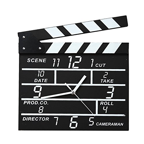 Hollywood Action Movie Slate Wall Clock Home Cafe Decor Notepad Clock
