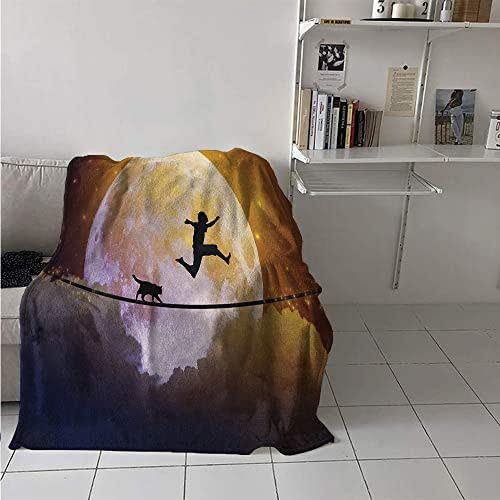 Maisi Custom Design Cozy Flannel Blanket, Boy and a Cat Walking on a Rope in Front of The Full Moon Fantastic Imagery Print, Oversized Travel Throw Cover Blanket 70x60 Inch Multicolor