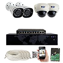 8 Channel 4K NVR 8 Megapixel H.265 4K Security Camera System, (2) Dome and (2) Bullet Built-in Microphone Audio Recording HD 2160P 4K IP PoE Cameras, QR-Code Connection