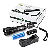 LE-1000lm-LED-Tactical-Flashlight-Rechargeable-XM-L2-T6-Portable-Zoomable-5-Light-Modes-10W-18650-Battery-and-Charger-Included-Water-Resistant-Camping-Torch-LED-Tactical-Handheld-Flashlight