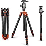 Neewer Carbon Fiber 65 inches/165 centimeters Tripod Monopod with 360 Degree Ball Head,1/4 inch Quick Shoe Plate and Bubble Level for DSLR Camera,Camcorder,Load up to 33 pounds/15 kilograms(Orange)