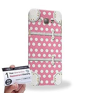 Case88 [Samsung Galaxy A8] 3D impresa Carcasa/Funda dura para & Tarjeta de garantía - Art Fashion Pink Dot Luggage
