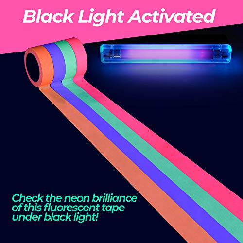 UV Blacklight Neon Glow Tape: Black Light Reactive Tape for Neon Party Supplies, the Stage, and Hula Hoop Decorations - Bright Fluorescent Spike Tape - 4 Pack of Pink, Green, -