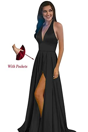 af2396aa103 Yinyyinhs Women s Halter A Line Side Slit Long Prom Dress Deep V Neck  Evening Party Gowns