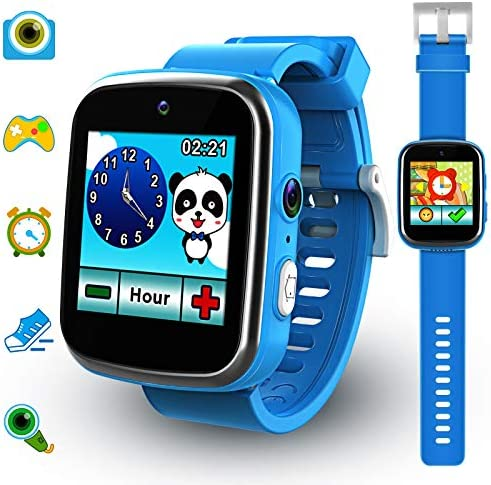 Foviza Kids Smart Watch Toys, Rechargeable Game Smartwatch for Boys & Girls, Multi-Function Touch Screen Kids Watches with Selfie-cam for Christmas/Xmas Birthday Gifts (Blue)