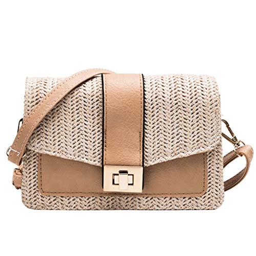 - TWinmar Fashion Exquisite Crossbody Bag,Women Beach Color Matching Woven Bags Girls Burlap Square Bag Messenger Bag