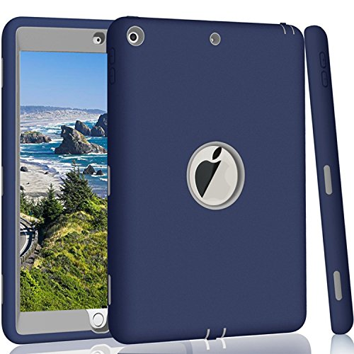 Price comparison product image New iPad 2017 9.7 inch Case,  Qelus Heavy Duty Rugged Shockproof Three Layer Armor Defender Impact Resistant Protective Case Cover for Apple New iPad 9.7 Inch (2017 Version)-Navy Blue / Grey