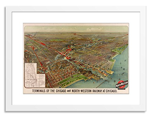 Gallery Direct Map of The Terminals of The Chicago and North-Western Railway at Chicago 1902 Artwork on Paper by Geo. H. Walker & Co. with White, Clean and Simple Frame, - Map Chicago Terminal