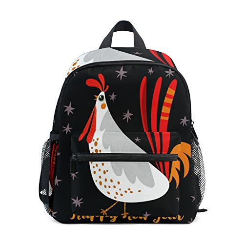 Top Carpenter Primary School Backpack Bookbag Rooster Happy New Year for Toddler Boys Girls Kids