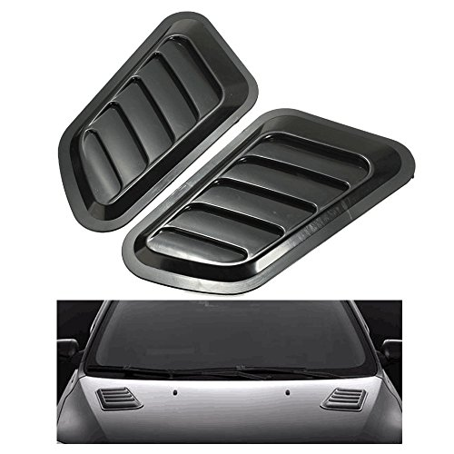 (Grow0606 One Pair Universal Auto Car Decorative Air Flow Intake Hood Scoop Vent Cover Black)