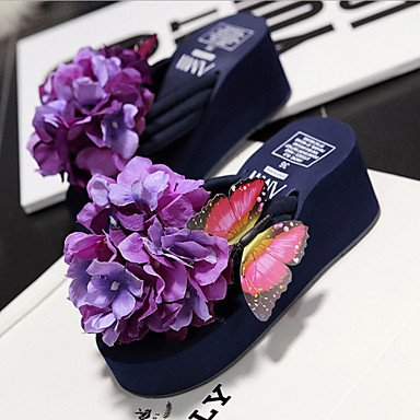 Women'szapatos de plataforma de tela Flip Flops zapatillas exteriores / Vestido Azul/Rosa/Violeta / Blanco US6.5-7 / EU37 / UK4.5-5 / CN37