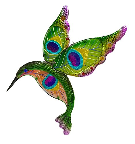 Continental Art Center 19X12X1.5 hand pained glass and metal hummingbird wall plaque