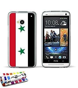 Carcasa Flexible Ultra-Slim HTC ONE de exclusivo motivo [Bandera Siria] [Gris] de MUZZANO  + ESTILETE y PAÑO MUZZANO REGALADOS - La Protección Antigolpes ULTIMA, ELEGANTE Y DURADERA para su HTC ONE