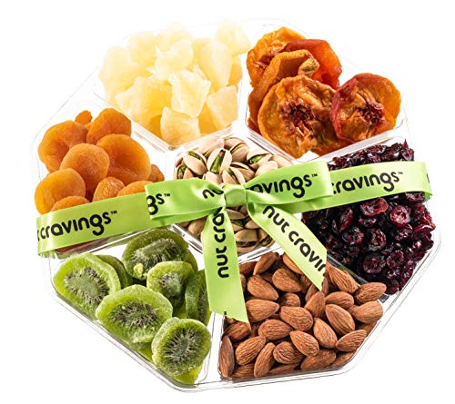 (Nut Cravings Holiday Fruit and Nuts Gift Basket | Large Variety Of 7-Section Gourmet Prime Assorted Dried Fruit tray | Great for Thanksgiving, Christmas, Mothers & Fathers Day)