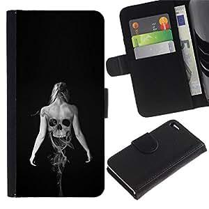 All Phone Most Case / Oferta Especial Cáscara Funda de cuero Monedero Cubierta de proteccion Caso / Wallet Case for Apple Iphone 4 / 4S // Skeleton Woman Goth
