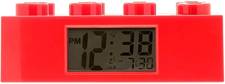 LEGO Réveil lumineux Brique Rouge pour enfant 9002168 | rouge | plastique | hauteur de 7 cm | écran LCD | garçon/fille | produit officiel