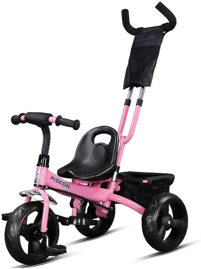 XIAOYANG Cochecito De Bebé Niños De La Bici Triciclo Niños Portátil De Empuje Y Antiguos Bicicletas 3 Opciones De Color Ride 1-3-6 Años (Color : Pink)