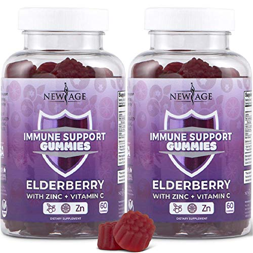 New Age Immune System Support Gummies 2-Pack -  Sambucus Black Elderberry Extract with Vitamin C and Zinc - All Natural Immunity Gummies - 120 Count