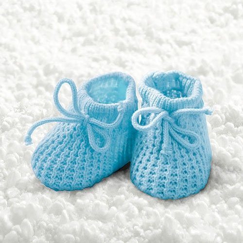 20Napkins Christening Boy Knitted Booties, 33x 33cm AMB