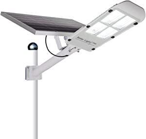 300w Solar Street Light, Outdoor Flood Lights Dusk to Dawn with Remote Control, 486 LEDs 12000 Lumens Waterproof Security LED Pole Light for Yard, Garden, Pathway (Mounting Arm Included)