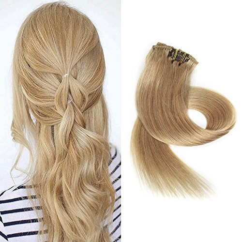 BETTY Clip In Human Hair Extensions 15 18 20 22 Inch 7pcs 70g Set Silky Straight Human Remy Hair Omber Color (22inch, #27)