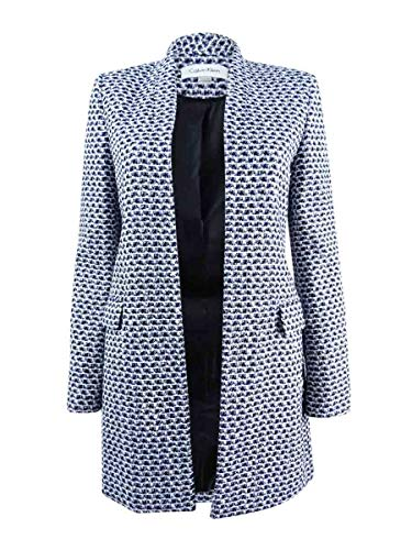 - Calvin Klein Women's Petite Boucle Tweed Topper Jacket (4P, Black/Cream/Regatta)