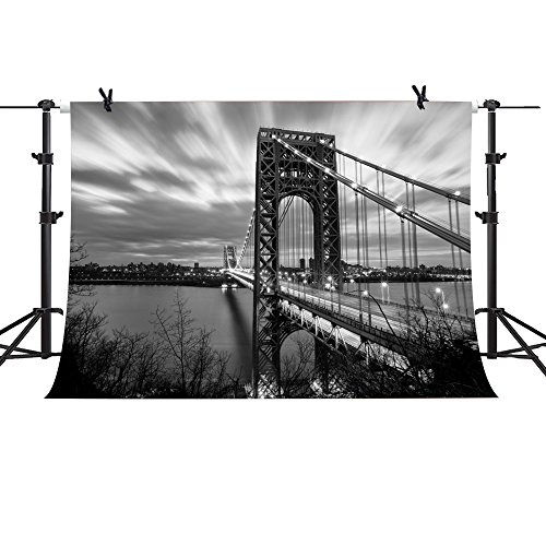 MME 10x7Ft Brooklyn Bridge Backdrop New York Landmark Background Building Black and White Photography Famous Landscape Props Video Studio HUIME007 Black And White Photography Landscapes