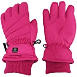 N'Ice Caps Kids Bulky Thinsulate Waterproof Winter Snow Ski Glove With Ridges (Fuchsia 1, 10-12yrs)