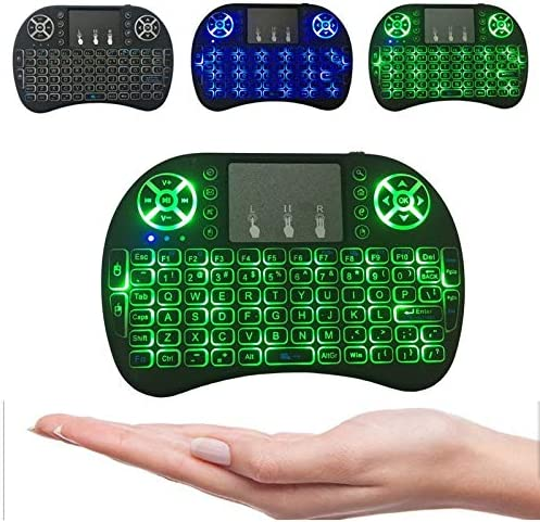 Calvas JRGK i8 for Android TV BOX Laptop PC Backlit Backlight Mini Wireless Keyboard 2.4GHz Touchpad Air Mouse Handheld Smart Remote Color: green