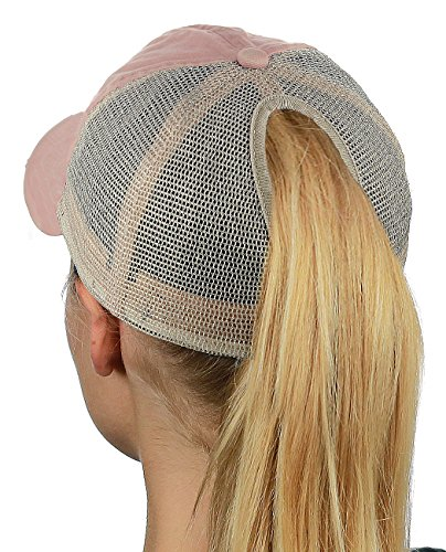 D&Y Ponyflo Ponytail Messy High Bun Distressed Adjustable Trucker Baseball Cap, Dusty Pink by D&Y