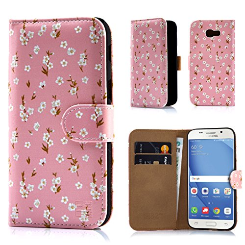 Samsung A517 Protector Case Cover (32nd Floral Design Leather Wallet Case for Samsung Galaxy A5 (2017), Designer Flower Pattern Wallet Style Case Cover With Card Slots - Peach Blossom)