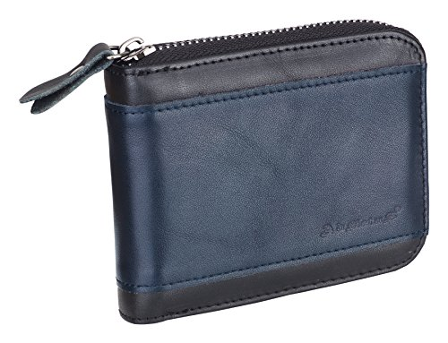 Admetus Men's Genuine Leather Short Zip-around Bifold Wallet Black&blue