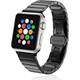 Apple Watch Band Series 3 38mm,Stainless Steel Metal Watch Replacement Bracelet for iWatch Wristband Sport Bracelet for Apple Watch, Series 3/2/1, Nike+, Sport, Edition(Black 38mm)