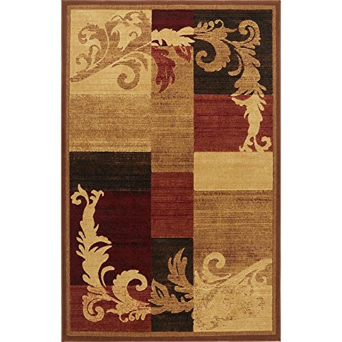 Home Dynamix Catalina Pierre | Formal Dining Room Rug | Geometric Paterns with Floral Accents | Brown and Red 3'3'' x5'2