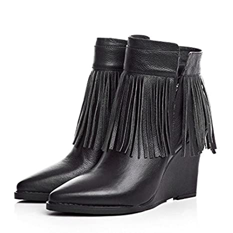 NSXZ pendiente señalado Mujer con botas de flecos botines de tacón alto , 35: Amazon.es: Deportes y aire libre