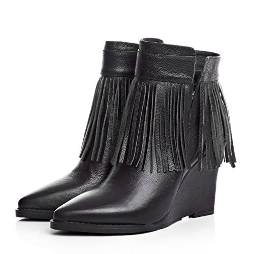 NSXZ Female pointed slope with fringed boots high-heeled ankle boots BLACK-90160CM AJTRZzbK