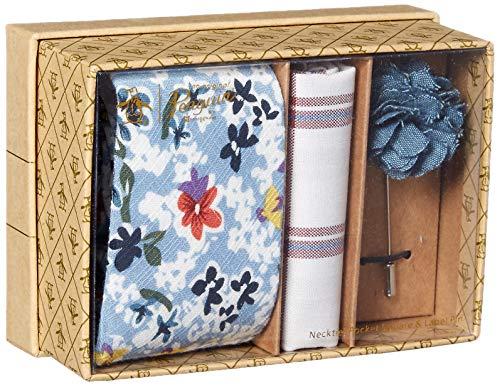 Original Penguin Men's 3-Piece Floral Tie, Pocket Square & Lapel Pin Box, Blue, One Size