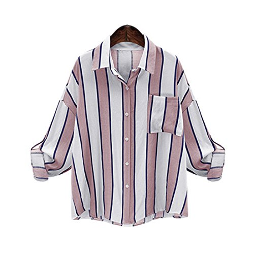 Haroty Rose Longues Loose Taille Blouse Femmes XL Stripes Sizes Irrgulier Chemisiers Grande Cardigan Manches 5XL BX6Bxqr8