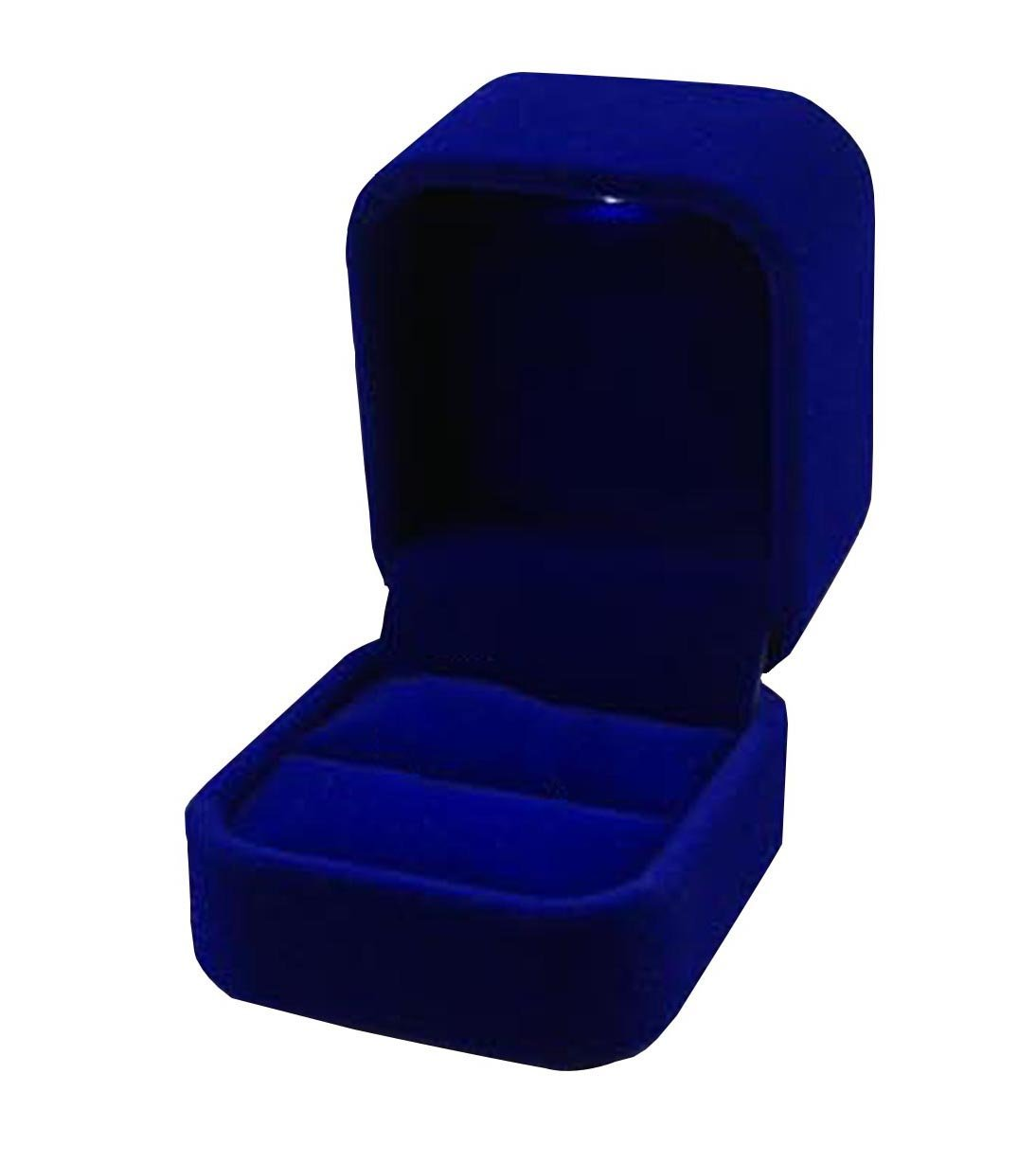 MXY Velvet Jewellery Box With Led Light Jewelry Ring Holder Earrings Gift Boxes Jewelry Display Cutely Small Case (Blue)