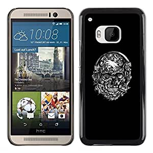 Paccase / SLIM PC / Aliminium Casa Carcasa Funda Case Cover - Floral Black White Smoking Skull - HTC One M9
