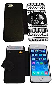 iphone 5 5S Vintage Aztec Hakuna Matata Black & White Funky Designer Full Case /Book Style Flip cover Defender Credit Card Holder Pouch Case Cover iPhone Wallet