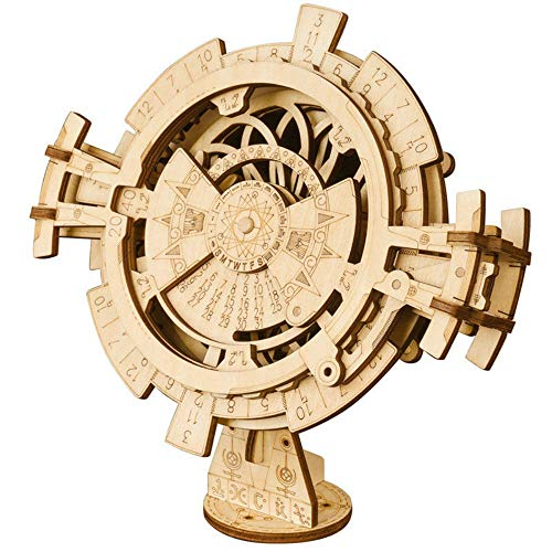 ROKR 3D Wooden Perpetual Calendar Puzzle,Mechanical Gears Toy Building Set,Brain Teaser Games,Engineering Toys,Family Wooden Craft KIT Supplies-Great Birthday for Boyfriend Father Adult