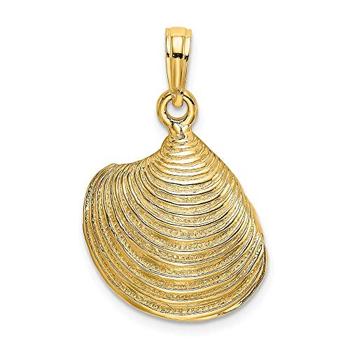(FB Jewels 14K Yellow Gold 3D Clam Shell Textured and High Polish Pendant)