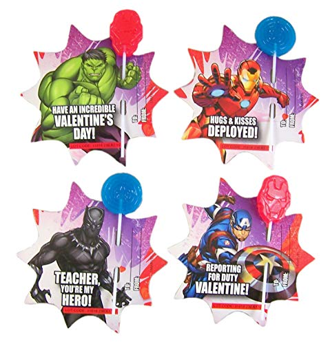 Day Lollipops Valentines (Marvel Avengers Valentines Day Friendship Card Exchange with Lollipops, 28 Count)