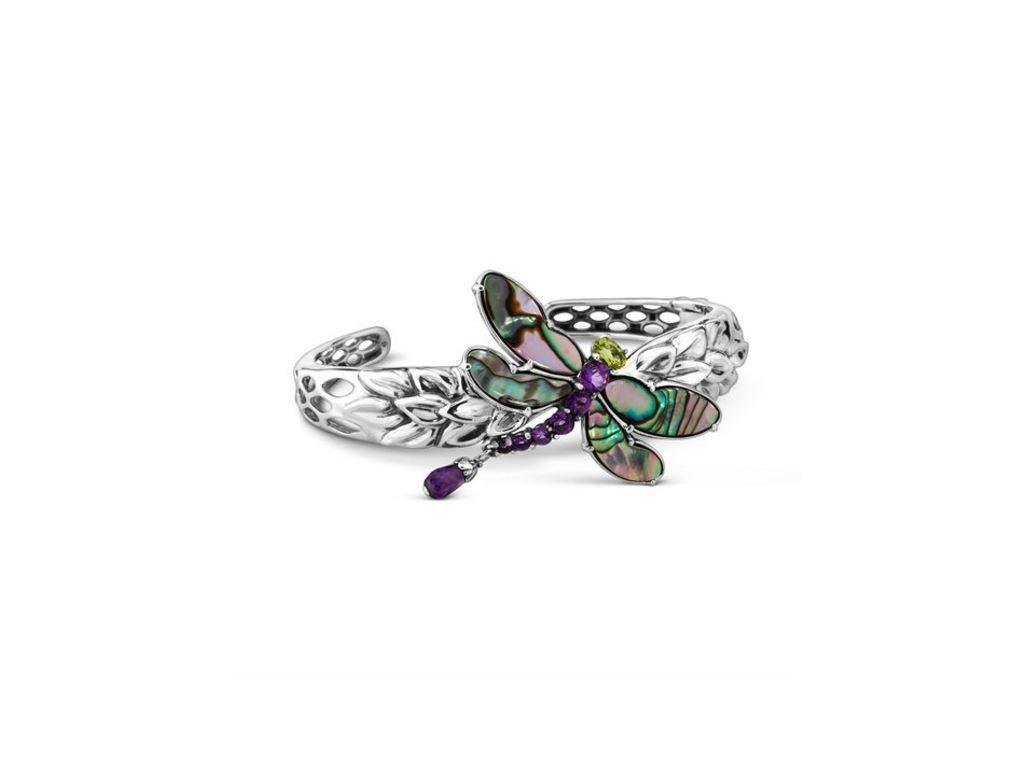 Carolyn Pollack Genuine .925 Sterling Silver Abalone Amethyst Peridot Dragonfly Cuff Bracelet