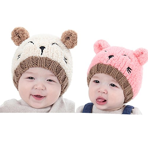 Gotd Baby Girls Boys Kids Toddler Knit Cap Warm Earflap Hat (beige&pink)
